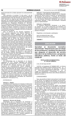 RESOLUCIÓN VICEMINISTERIAL Nº 155-2021-MINEDU