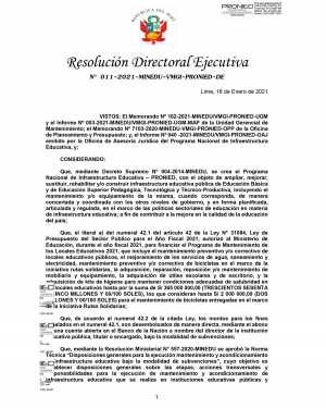 Resolución Directoral Ejecutiva Nº 011- 2021 - MINEDU-VMGI-PRONIED