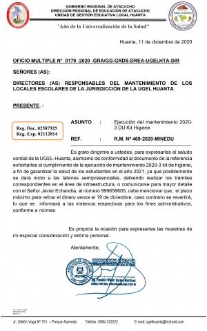 OFICIO MULTIPLE N° 0179 -2020 -GRA/GG-GRDS-DREA-UGELHTA-DIR