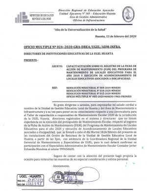OFICIO MÚLTIPLE Nº 024-2020-GRA-DREA/UGEL/ADM-INFRA.