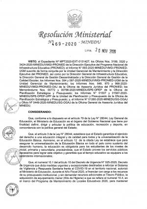 Resolución Ministerial N°469-2020-MINEDU