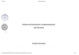 INFORME DE EVALUACIÓN E IMPLEMENTACIÓN DEL POI 2019 - CUARTO TRIMESTRE