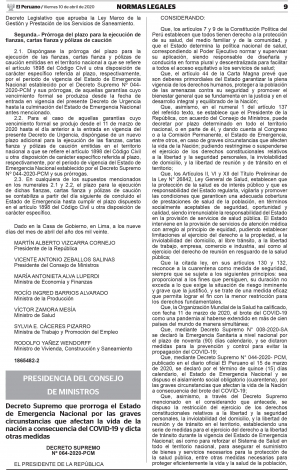 Prorroga el Estado de Emergencia Nacional por las graves circunstancias que afectan la vida de la nación a consecuencia del COVID-19