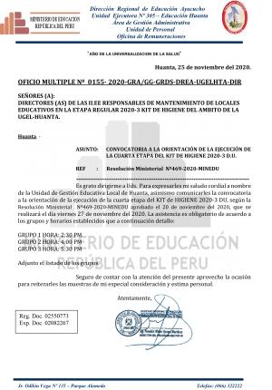 OFICIO MULTIPLE Nº 0155- 2020-GRA/GG-GRDS-DREA-UGELHTA-DIR
