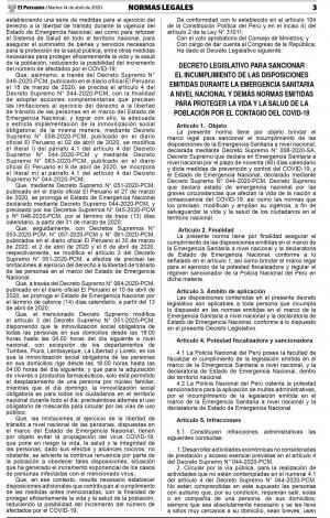 Sancionar el incumplimiento de las disposiciones de la Emergencia Sanitaria a Nivel Nacional