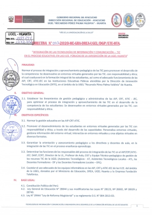 DIRECTIVA Nº 003-2020-ME-GRA-DREA-UGEL/DGP/ETE-HTA