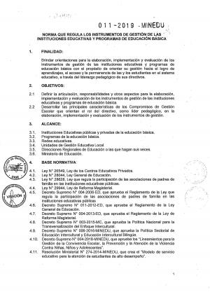 NORMA QUE REGULA LOS INSTRUMENTOS DE GESTIÓN DE LAS INSTITUCIONES EDUCATIVAS Y PROGRAMAS DE EDUCACIÓN BÁSICA