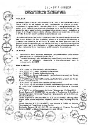 ORIENTACIONES PARA LA IMPLEMENTACIÓN DEL CURRÍCULO NACIONAL DE LA EDUCACIÓN BÁSICA