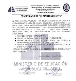 """COMUNICADO DE """"MI MANTENIMIENTO"""""""