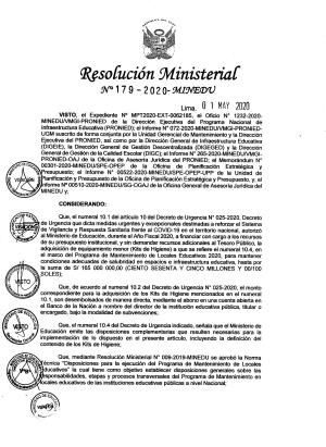Resolución Ministerial N° 179-2020-MINEDU