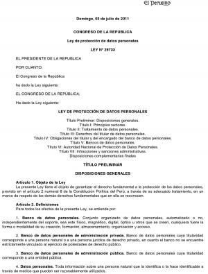 Ley de protección de datos personales LEY Nº 29733