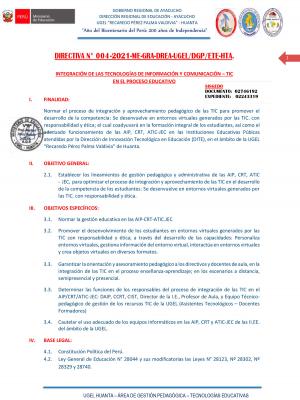DIRECTIVA N° 004-2021-ME-GRA-DREA-UGEL/DGP/ETE-HTA