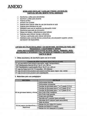 RUBRO DE MOBILIARIO Y EQUIPAMIENTO  DE LA EJECUCIÓN DEL MANTENIMIENTO ESCOLAR 2020-1