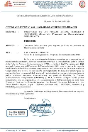 OFICIO MULTIPLE N° 080 -2021-ME/GRA/DREA/UGEL-HTA-DIR