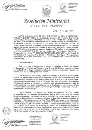 RM N° 146-2021-MINEDU