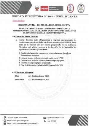FE DE ERRATAS DIRECTIVA Nº 013-2019