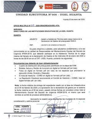 OFICIO MULTIPLE Nº 003 - 2020-GRA/DREA/DUGEL-HTA