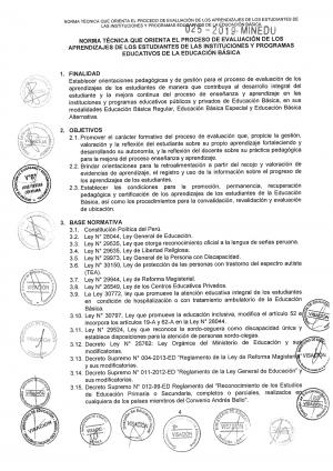 NORMA TÉCNICA QUE ORIENTA EL PROCESO DE EVALUACIÓN DE LOS APRENDIZAJES DE LOS ESTUDIANTES DE LAS INSTITUCIONES Y PROGRAMAS EDUCATIVOS DE LA EDUCACIÓN BÁSICA