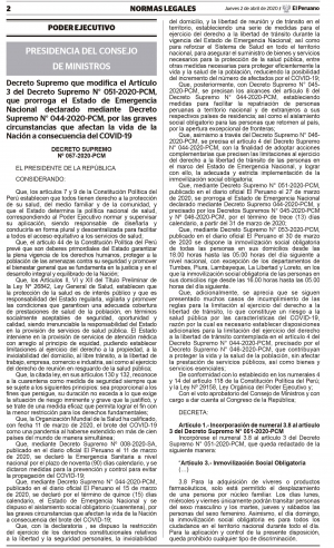 Decreto Supremo N° 051-2020-PCM