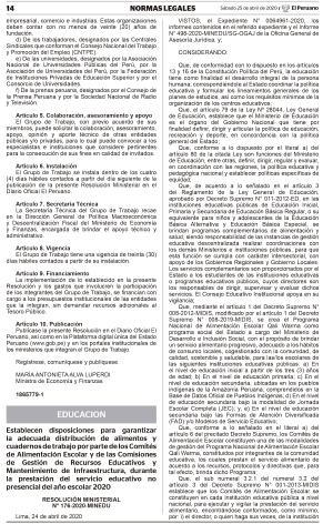 Disposiciones para garantizar la adecuada distribución de alimentos y cuadernos de trabajo