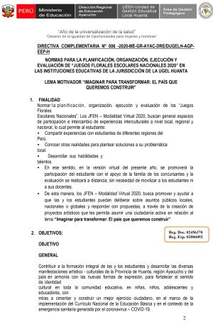 DIRECTIVA COMPLEMENTARIA Nº 006 -2020-ME-GR-AYAC-DRE/DUGELH-AGP- EEP-H